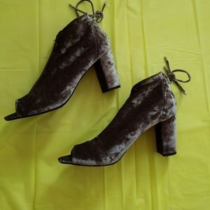REPORT gray crushed velvet peep toe booties
